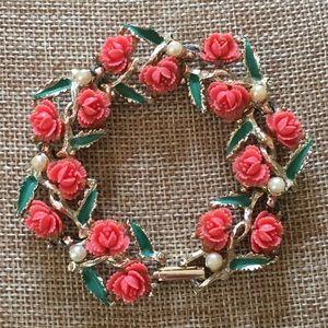 Vintage gold coral flower bracelet